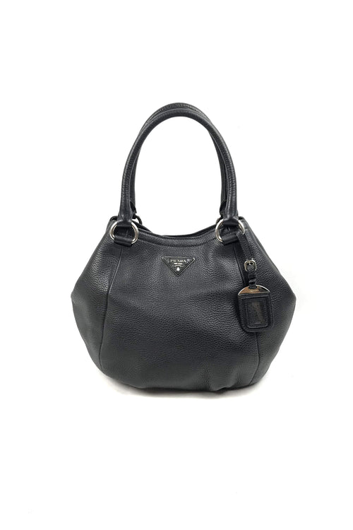 Black Vitello Daino Leather Crossbody Hobo Bag W/ Detachable Strap