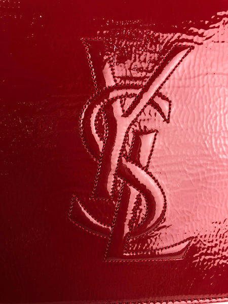 YSL Red Patent Leather Belle De Jour Medium Clutch W/ GHW