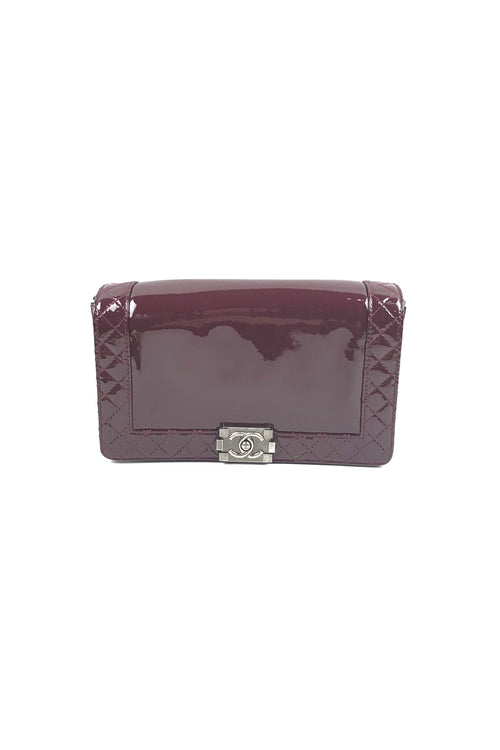 Burgundy Patent Leather Medium Boy Reverso Flap Bag W/ RHW