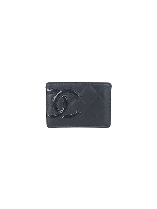 Black Quilted Ligne Cambon Card Case
