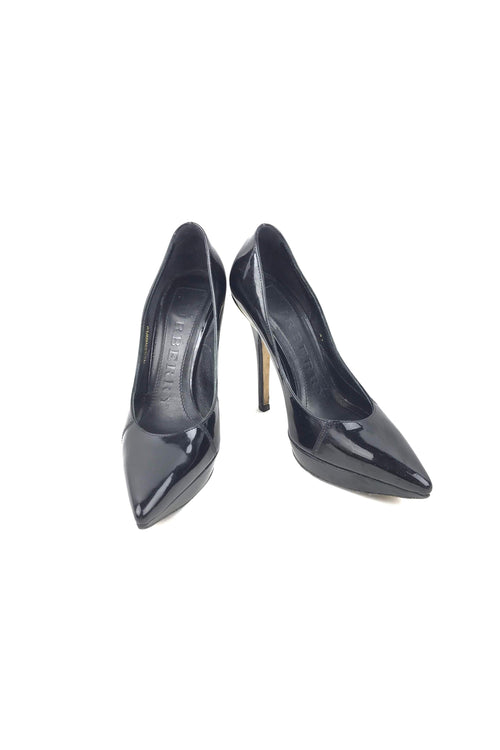 Black Patent Pointed Toe Platform Pumps
