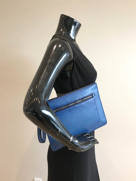 Blue Leather Wristlet Clutch W/RHW