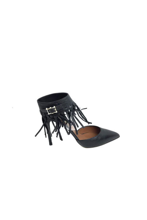 Black grained leather Illusion Fringe Ankle-Wrap Pumps - Haute Classics