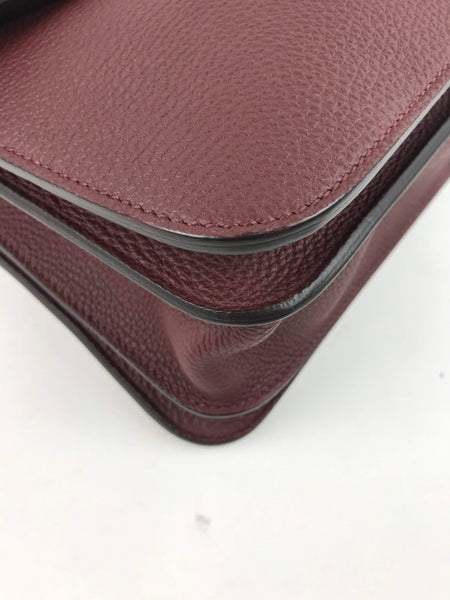 Burgundy Grained Leather Jackie Convertible Shoulder Bag