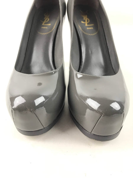 Charcoal Grey Patent Leather Tribtoo Double Platform Pumps
