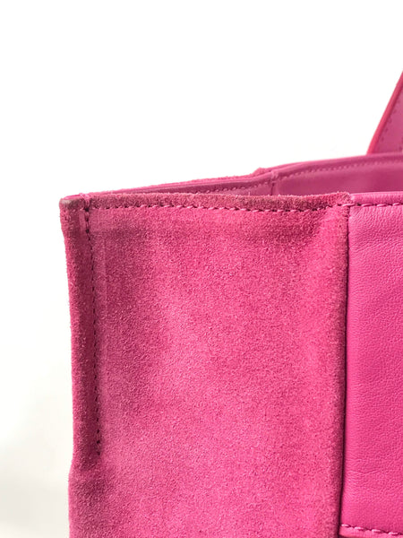 Paris Fuchsia Leather/Suede North South Reversible Shopping Tote