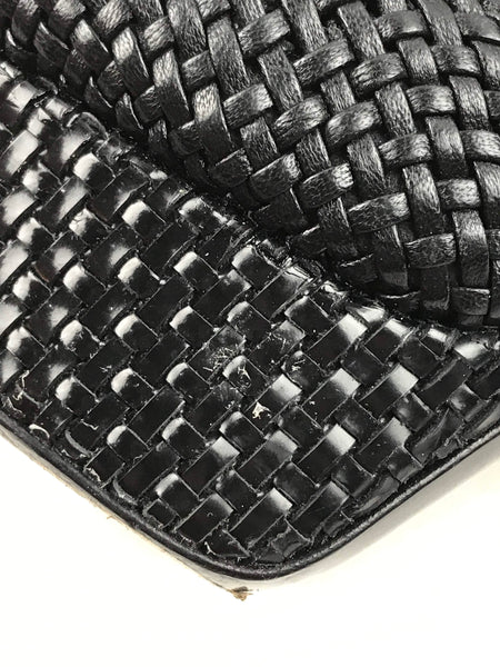 Black Woven Leather Platform Sandals