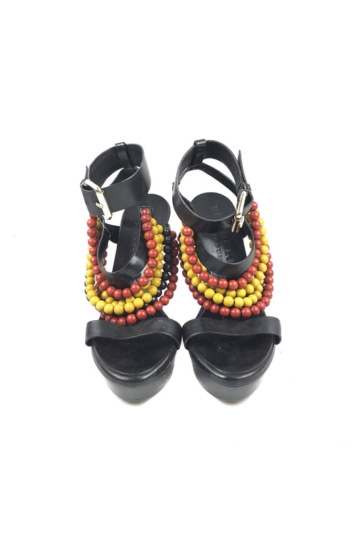 Black Smooth Leather & Multicolour Beading Platform Sandals