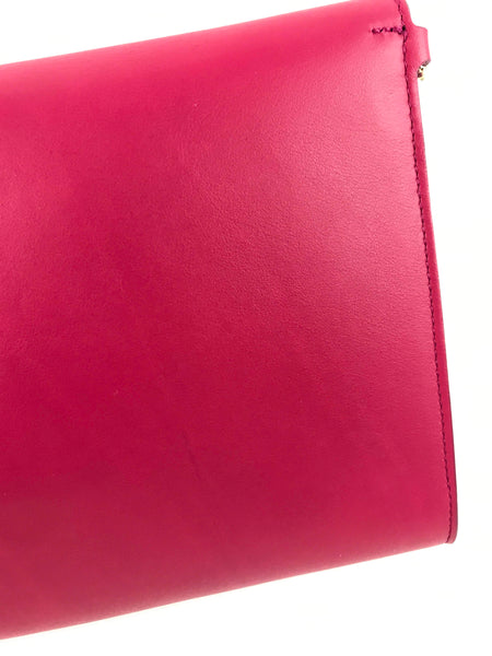 Agata Rosa Nappa Calf Leather Afef Lock Story Wristlet Clutch