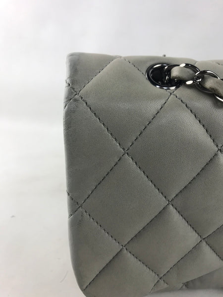 Grey Lambskin Quilted Flap Bag W/SHW