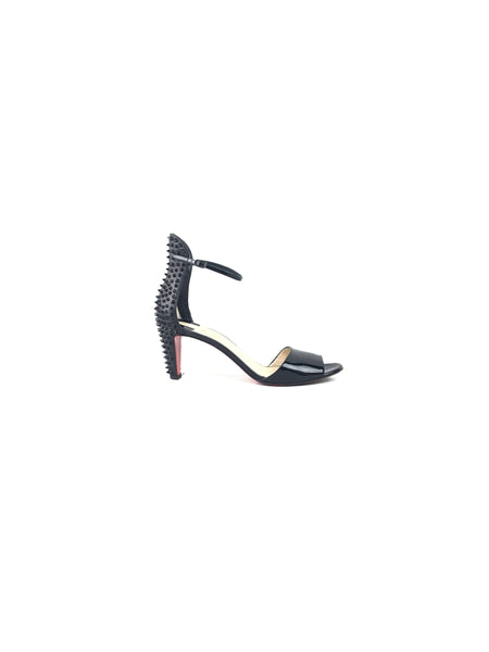 Black Patent Leather Spiked Ankle Strap Low Heeled Sandals
