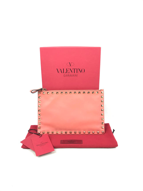 Salmon Small Rockstud Clutch W/GHW