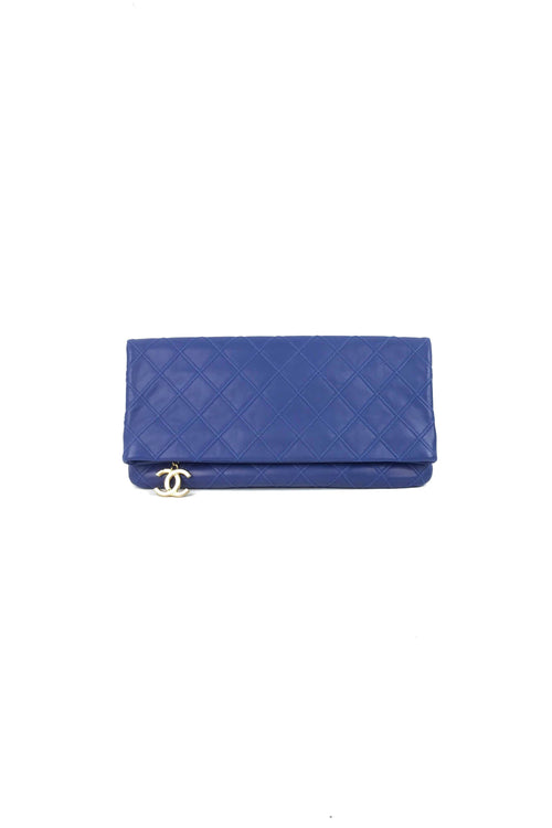 Cobalt Blue Fold-Over Clutch W/GHW