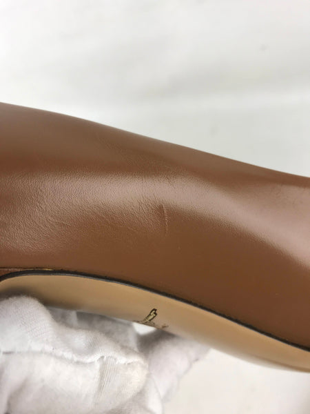 Caramel Leather Pointed Toe Pumps