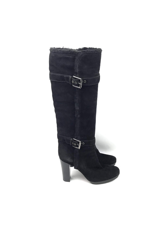 Black Suede and Shearling Knee High Boots - Haute Classics