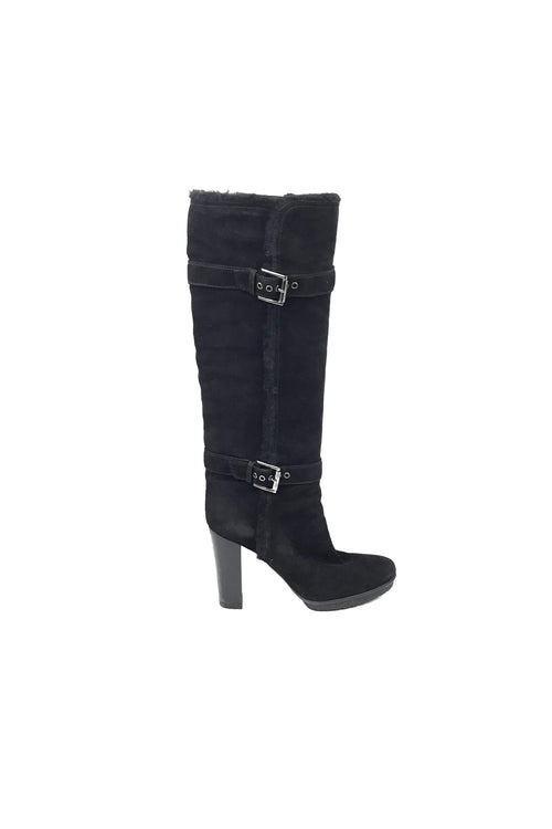Black Suede and Shearling Knee High Boots