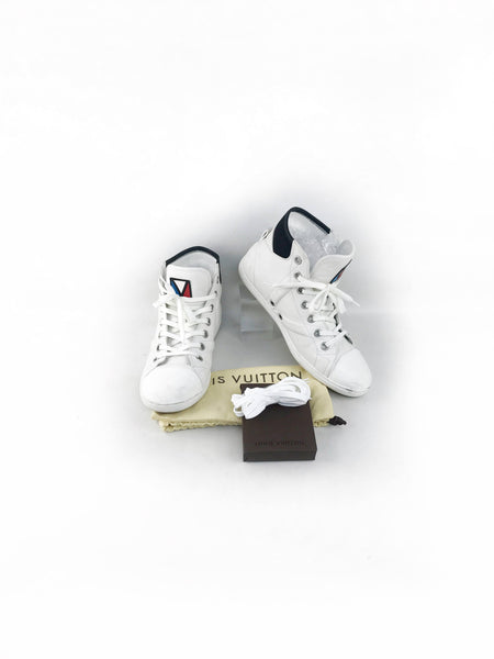 White Leather High Top Sneakers