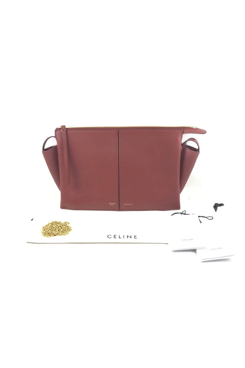 Red Wood Smooth Calfskin Trifold Clutch On Chain W/ GHW