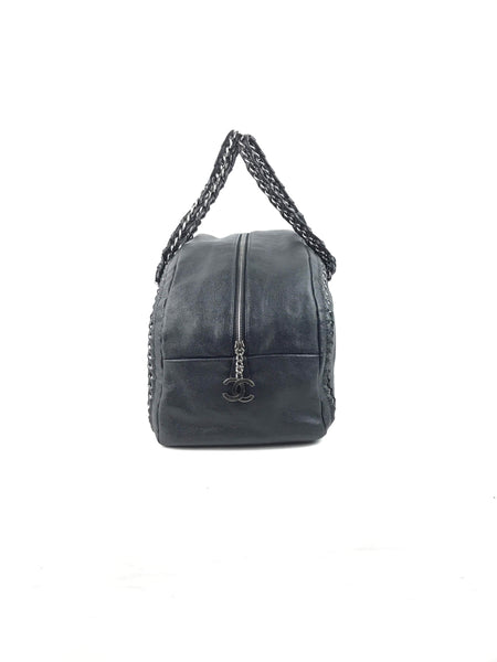 Grained Leather Luxe Ligne Bowling Bag