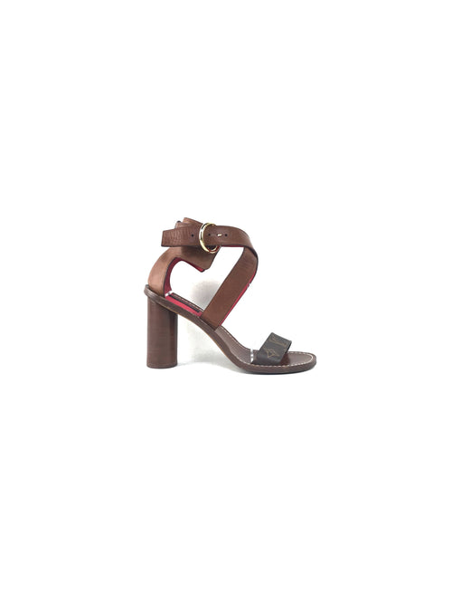 Brown Leather/Monogram Coated Canvas Wrap Heeled Sandals
