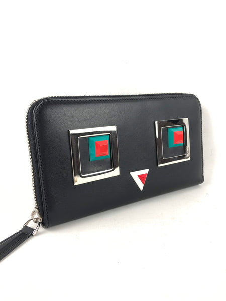 Black leather 2Jours Square Eyes Zip Around Wallet