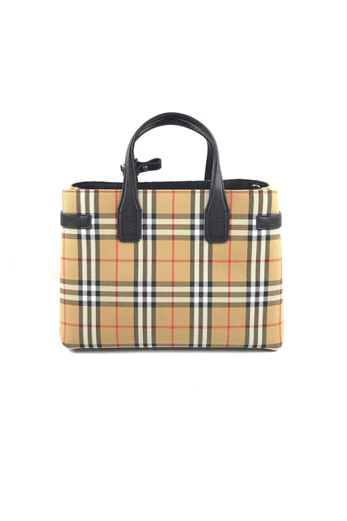 """Vintage Check""/ Black Grained Goat Leather Medium Banner Tote"