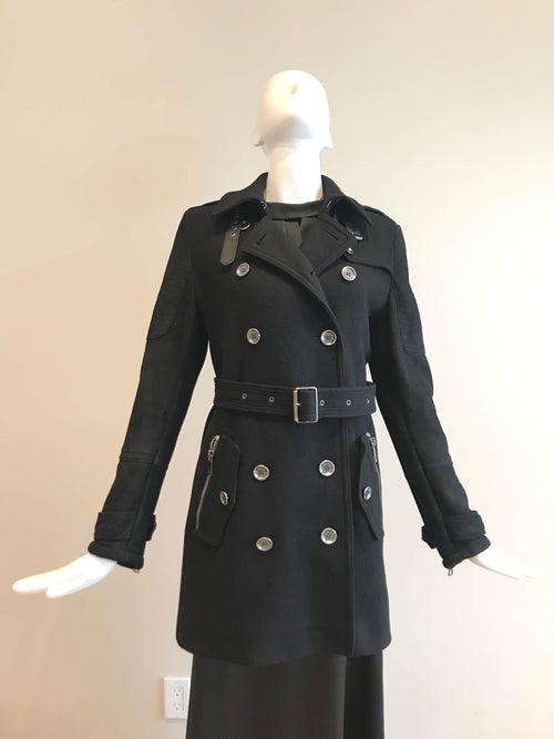 Brit Black Wool/Nylon Blend Shearling Trench Coat
