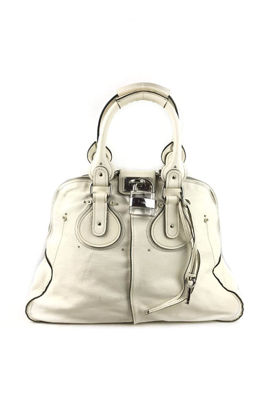 White Grained Leather Chamois Large Dome Paddington Bag W/SHW