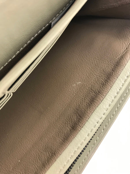 Grey/Beige Intrecciato Nappa Leather Continental Wallet