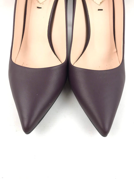 Burgundy Decolette Pointed Toe Pumps