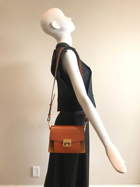 Brown Two-Tone Smooth Leather Shoulder/Crossbody Strap W/GHW