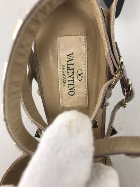 Grey/Beige Patent Leather Rockstud Caged Pumps 65MM W/LGHW