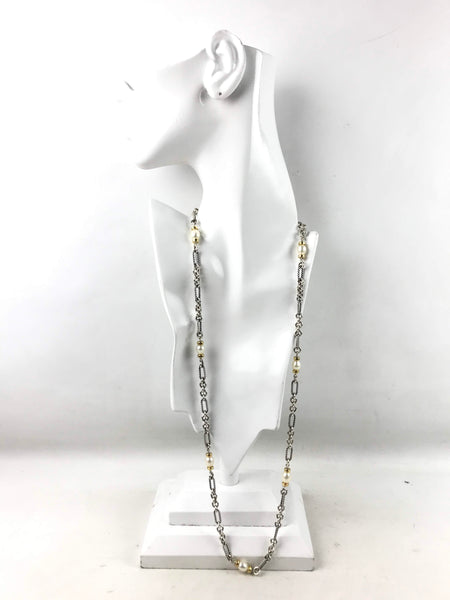 Sterling Silver/14K Gold Figaro Chain/Pearl Necklace