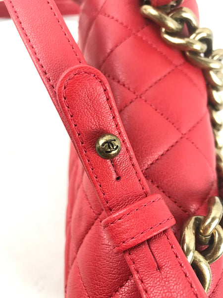 Red Leather Quilted Classic Chain Handle Flap Mini Bag W/AGHW