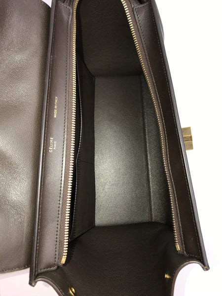 Brown/White/Olive Smooth Calfskin Small Trapeze Bag W/ GHW