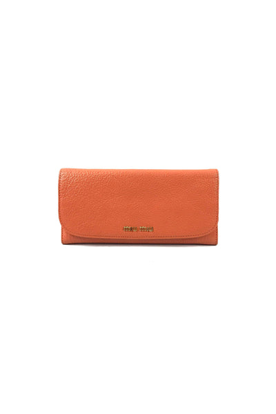 Papaya Madras Grained Leather Wallet W/GHW