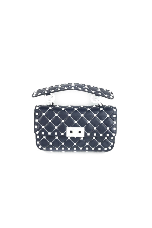 Navy Blue Nappa Leather White Studs Rockstud Small Spike Bag