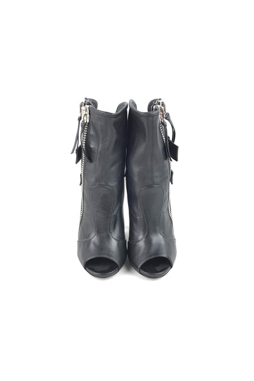 Black Leather Biker Open Toe Ankle Heeled Boots W/ SHW