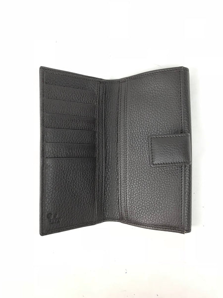 Brown Leather/Fabric GG Brown Wallet