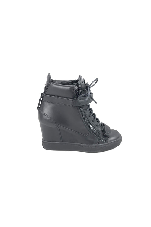Black Smooth Leather Wedge Sneakers W/ BHW