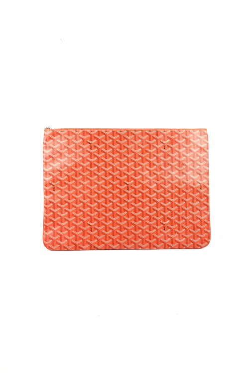 Orange Goyardine Senat GM Canvas Clutch W/SHW