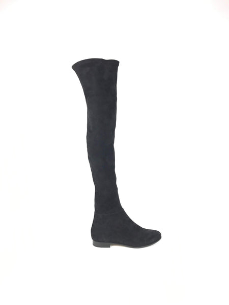Black Suede Myren Flat Over The Knee Boots