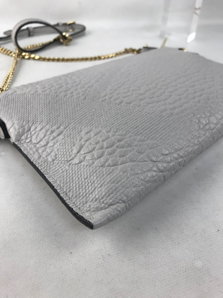 Grained Light Grey Small Chichester Check Embossed Leather Crossbody Bag W/GHW