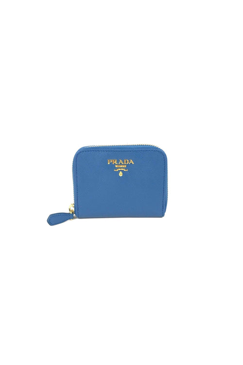 Blue Saffiano Leather Coin Purse W/ GHW