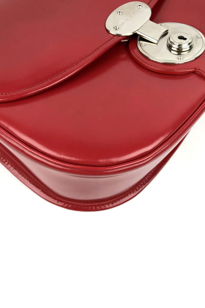 Red Smooth Leather Top Handle Padlock Satchel