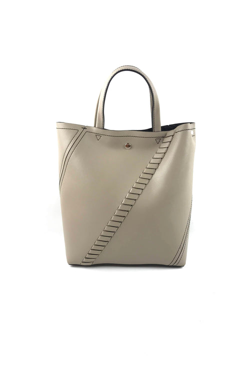 Light Taupe Calfskin Medium Hex Tote Bag