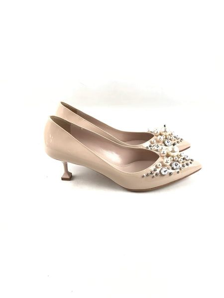 Nude Patent Leather Crystal/Pearl Embellished Pointed Toe Kitten Heels
