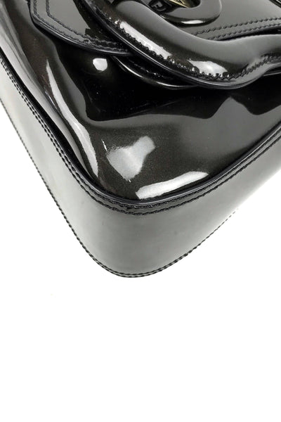 Sparkly Black Patent Leather Buckle B Bag
