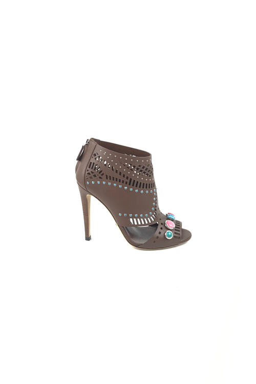 Brown Leather Cutout Open Toe Booties W/ Stone Accents
