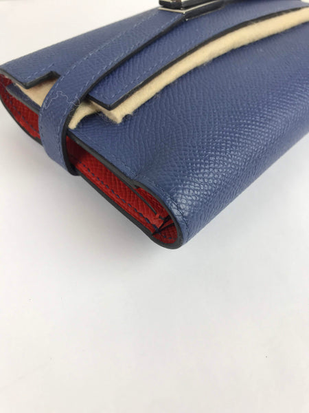 Bleu Brighton/Capucine Epsom Kelly Medium Verso Wallet W/PHW